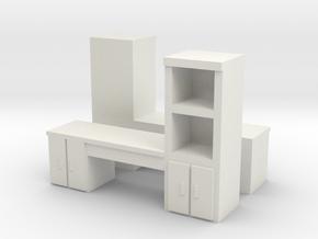 Cabinet Office Desk (x2) 1/87 in White Natural Versatile Plastic