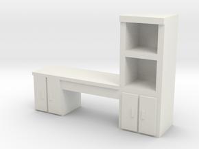 Cabinet Office Desk 1/56 in White Natural Versatile Plastic