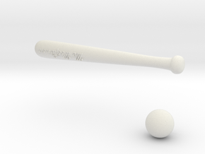 Baseball bat & ball in White Natural Versatile Plastic