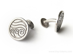 Water Element Cufflinks (Avatar the Last Airbender in Polished Nickel Steel