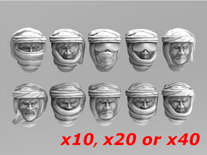 Imperial Soldier Heads With Desert Headgear 5 in Smooth Fine Detail Plastic: Small