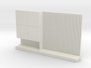 Miniature 1:12 TV Wall in White Natural Versatile Plastic: 1:12