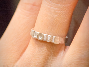Love Ring - iXi Design - Size 4 in Raw Silver