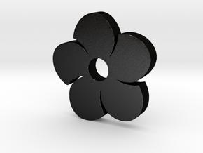 Flower Game Piece in Matte Black Steel