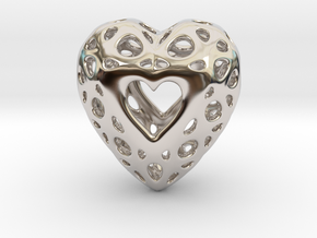Voronoi Heart Pendant ver.2 in Rhodium Plated Brass