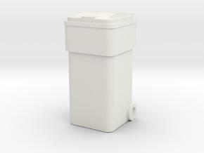 Waste Container Bin 1/43 in White Natural Versatile Plastic
