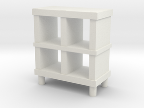 Modern Miniature 1:48 Rack/Sideboard in White Natural Versatile Plastic: 1:48 - O