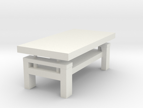 Modern Miniature 1:24 Coffee Table in White Natural Versatile Plastic: 1:24