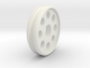 CarMoWorld Race-tin Front Wheel - Circles v1 in White Natural Versatile Plastic