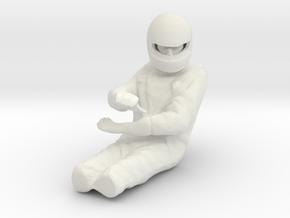 1/18 F1 Driver Turning Left in White Natural Versatile Plastic