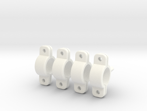 45 Deg Clamps for 8mm Tubular (Lama Hook Mounts) in White Processed Versatile Plastic