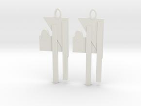 Modern Earrings in White Natural Versatile Plastic: Medium