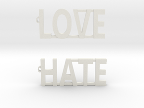 LOVE/HATE Modern Earrings!!! in White Natural Versatile Plastic: Small