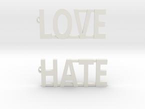 LOVE/HATE Modern Earrings!!! in White Natural Versatile Plastic: Small