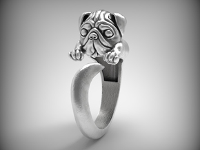"""Very cute """"Pug"""" band for a pug lovers in Natural Silver"""