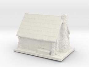 HO Scale Log Cabin in White Natural Versatile Plastic