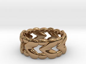 8 Hearts Ring (Size 18) in Polished Brass
