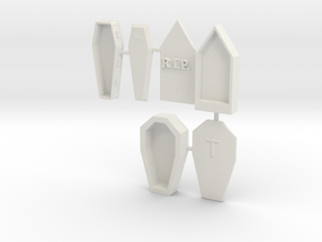 HO Scale 3 Coffins in White Natural Versatile Plastic