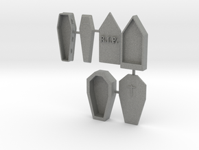 HO Scale 3 Coffins in Gray PA12