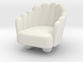 Modern Miniature 1:24 Armchair in White Natural Versatile Plastic: 1:24