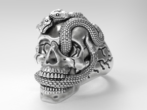 Skull & snakes ring sz 10.5 in Natural Silver