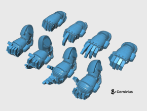 8x Base - Static Energy Fists [Group 2] in Smooth Fine Detail Plastic