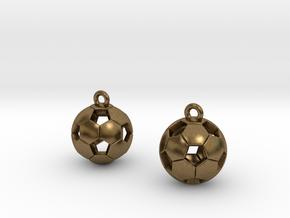Soccer Balls Earrings in Natural Bronze