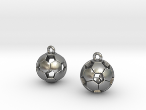 Soccer Balls Earrings in Natural Silver