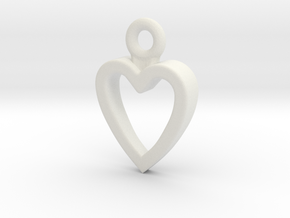 Heart Charm / Pendant / Trinket in White Natural Versatile Plastic
