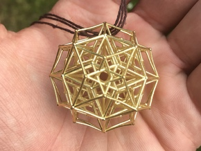 5d Tesseract Merkaba in Natural Brass