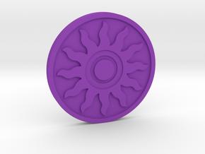 The Sun Coin in Purple Processed Versatile Plastic