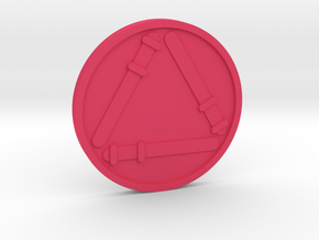 Three of Wands Coin in Pink Processed Versatile Plastic