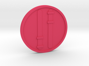 Two of Wands Coin in Pink Processed Versatile Plastic
