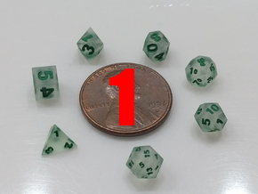 Unconnected 1x Super Tiny Polyhedral Dice Set, V3 in Smoothest Fine Detail Plastic