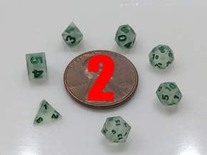 2x Super Tiny Polyhedral Dice Set, V3 in Smoothest Fine Detail Plastic