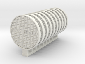 Manhole Cover NY Ver02. 1:48 Scale O in White Natural Versatile Plastic