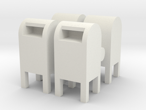 USPS Mailbox (x4) 1/72 in White Natural Versatile Plastic