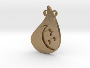 Moon Pendant in Polished Gold Steel