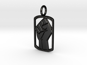 Power Dog Tag (Right Hand) in Matte Black Steel