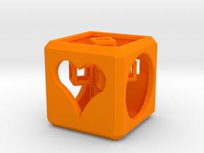SCULPTURE: Love Cube (30mm) with Upright 3d-Cross in Orange Processed Versatile Plastic