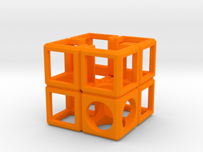 SCULPTURE Cube-Base for 48mm 3d-Cross in Orange Processed Versatile Plastic
