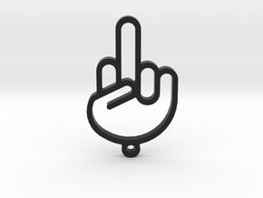 Middle Finger Keychain in Black Natural Versatile Plastic