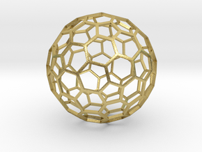 Goldberg Polyhedron[2,1], flat faces, large in Natural Brass