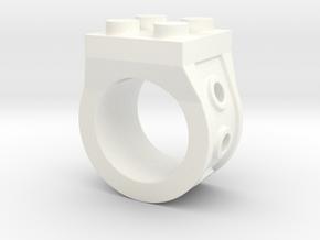 Brick 4 Stud Ring Type 2 - Size 5  in White Processed Versatile Plastic