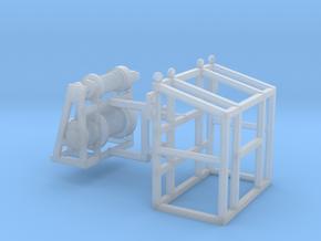 1/64th Oilfield Heavy Haul Double Drum Winch guard in Smooth Fine Detail Plastic