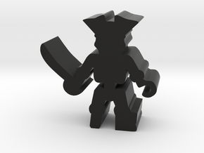 Pirate Skeleton w hook, sword, pegleg, 25mm lrg in Black Natural Versatile Plastic