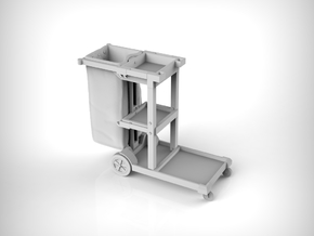 Cleaning Cart 01. 1:24 Scale  in White Natural Versatile Plastic