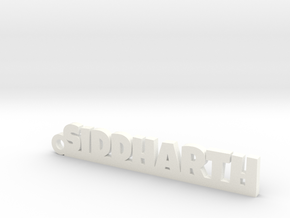 SIDDHARTH_keychain_Lucky in White Processed Versatile Plastic