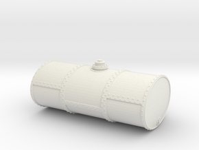 HO Scale Singe Cell Fuel Tank (End Drain) in White Natural Versatile Plastic
