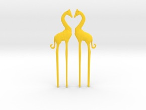 Giraffe in Love Caketopper 2X in Yellow Strong & Flexible Polished